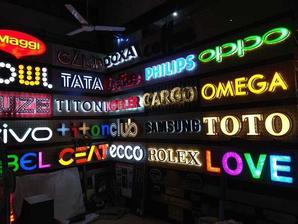 LED Sign Boards Of Various Brand Names On Display.